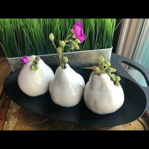 Anthropologie trio of pear vases /exotic wood tray